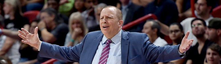 Former Timberwolves head coach Tom Thibodeau reacts against the Miami Heat Dec 30, 2018; Miami, FL