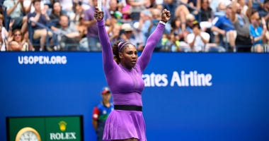 Serena Williams of the USA after beating Petra Martic of Croatia in the fourth round on day seven of the 2019 U.S. Open tennis tournament