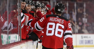 New Jersey Devils center Jack Hughes (86) celebrates a goal during the second period of their game against the Boston Bruins