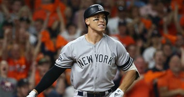 New York Yankees right fielder Aaron Judge (99) reacts after striking out in the fourth inning against the Houston Astros in game six of the 2019 ALCS playoff baseball series on Oct 19, 2019 at Minute Maid Park.