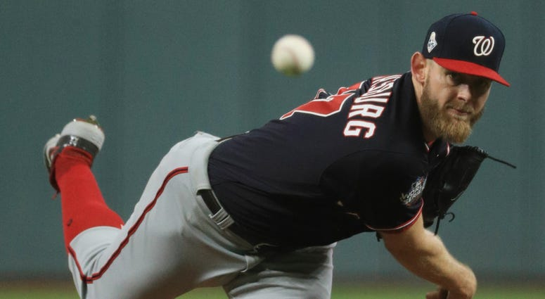 Stephen Strasburg throws a pitch against the Houston Astros in the first inning in game six of the 2019 World Series Oct 29, 2019; Houston, TX