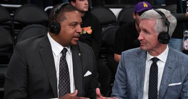 Mark Jackson (left) and play-by-play commentator Mike Breen react during a game between the Los Angeles Lakers and the Golden State Warriors Nov 13, 2019; Los Angeles, CA