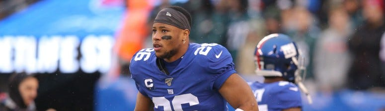 New York Giants running back Saquon Barkley (26) warms up before a game against the Philadelphia Eagles on Dec 29, 2019 at MetLife Stadium.