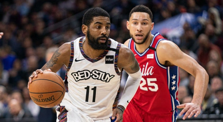 Brooklyn Nets guard Kyrie Irving (11) dribbles in front of Philadelphia 76ers guard Ben Simmons (25) during the fourth quarter on Jan 15, 2020 at Wells Fargo Center.