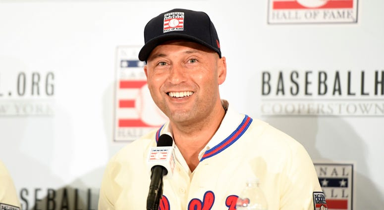 Former Yankees shortstop Derek Jeter answers questions during the Hall of Fame induction press conference Jan 22, 2020; New York, New York