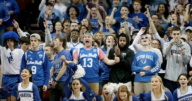Seton Hall Pirates fans react during the first half against the Creighton Bluejays Feb 12, 2020; Newark, New Jersey