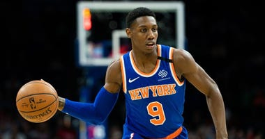 New York Knicks guard RJ Barrett (9) passes the ball against the Philadelphia 76ers during the first quarter on Feb 27, 2020 at Wells Fargo Center.