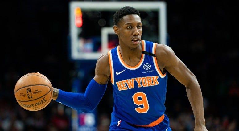 New York Knicks guard RJ Barrett (9) passes the ball against the Philadelphia 76ers during the first quarter on Feb 27, 2020 at Wells Fargo Center.