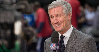 Mike Breen before the game between the Dallas Mavericks and the Chicago Bulls at the American Airlines Center. Jan 23, 2015; Dallas