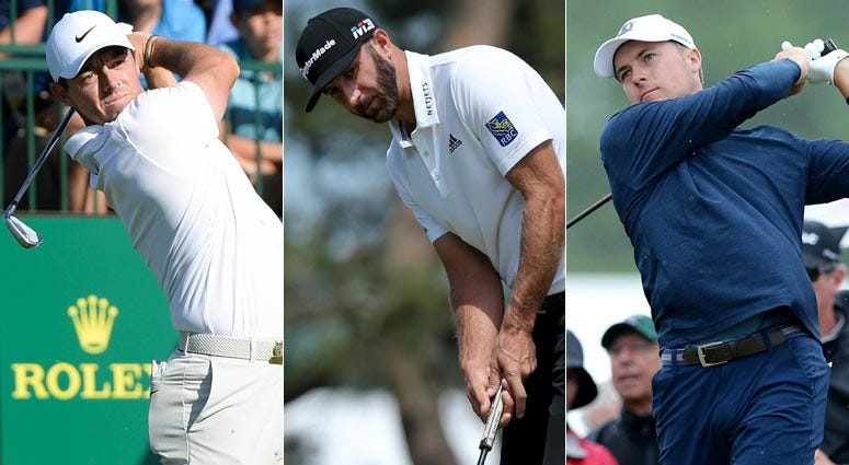From left, Rory McIlroy, Dustin Johnson and Jordan Spieth