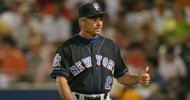 Manager Bobby Valentine #2 of the New York Mets gives a thumbs up during the game against the Atlanta Braves at Turner Field in Atlanta, Georgia on June 4, 2002.