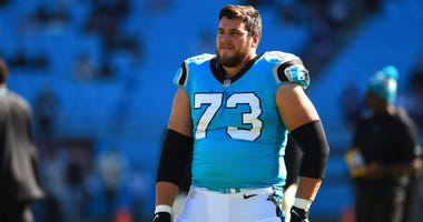 Carolina Panthers offensive guard Greg Van Roten (73) before the game at Bank of America Stadium