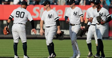 The Yankees celebrate a recent win.