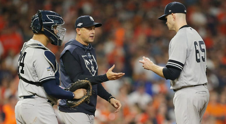 The Yankees' James Paxton is pulled by manager Aaron Boone during the third inning against the Houston Astros in Game 2 of the American League Championship Series on Oct. 13, 2019, in Houston.