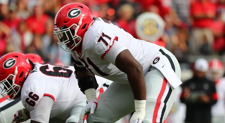 Georgia offensive lineman Andrew Thomas in action against Florida on Nov. 2, 2019, at TIAA Bank Field in Jacksonville, Florida.