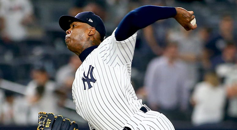 The Yankees' Aroldis Chapman pitches against the Cleveland Indians on May 4, 2018, at Yankee Stadium.