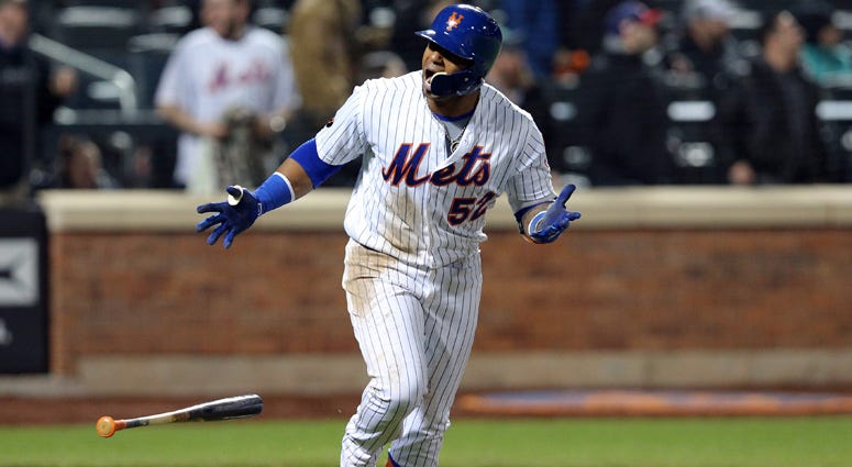 Mets left fielder Yoenis Cespedes reacts after hitting a grand slam against the Washington Nationals on April 19, 2018, at Yankee Stadium.