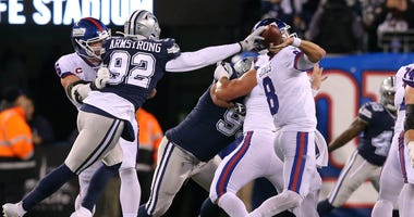 Dallas Cowboys defensive end Dorance Armstrong forces fumble by New York Giants quarterback Daniel Jones Nov 4, 2019; East Rutherford, NJ