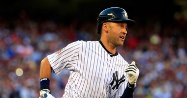 Derek Jeter runs down the line during the 2014 All-Star Game