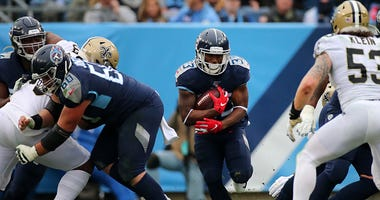 Dion Lewis finds a gap with the Titans.