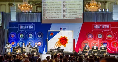 The final draft picks are displayed during the 2018 NBA draft lottery on May 15, 2018, at the Palmer House Hilton in Chicago.