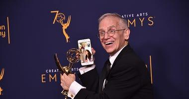Don Roy King celebrates winning an Emmy