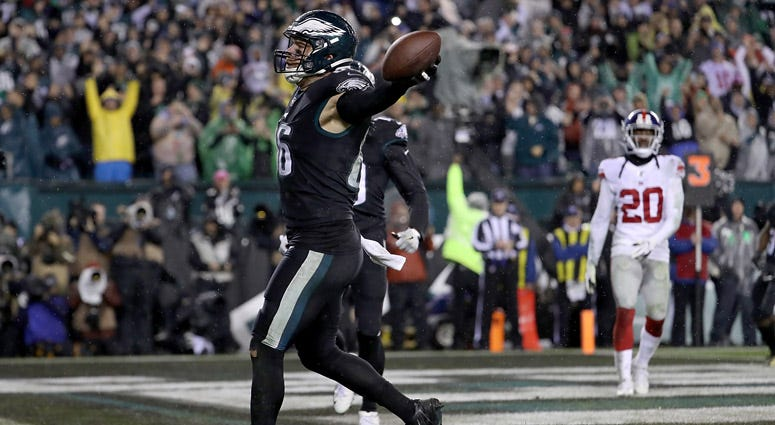 Eagles tight end Zach Ertz celebrates his catch in the end zone in overtime to win 23-17 over the Giants on Dec. 9, 2019, at Lincoln Financial Field in Philadelphia.