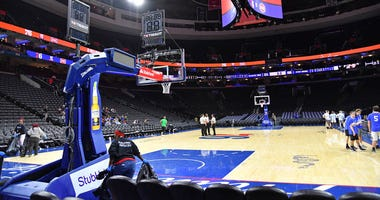 A general view of the arena after game between Philadelphia 76ers and Detroit Pistons at Wells Fargo Center in Philadelphia on March 11, 2020.