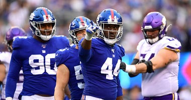Markus Golden celebrates after a big play for the Giants
