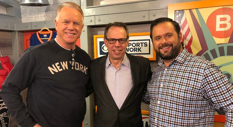 Mets radio announcer Howie Rose (center) poses with Boomer and Gio on Oct. 3, 2018.