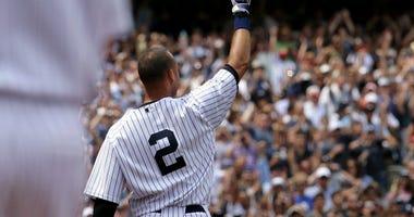 Derek Jeter salutes the fans at Yankee Stadium