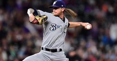 Brewers relief pitcher Josh Hader delivers a pitch against the Colorado Rockies on Sept. 28, 2019, at Coors Field in Denver, Colorado.