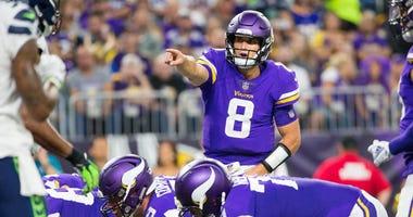 Minnesota Vikings quarterback Kirk Cousins in the second quarter against the Seattle Seahawks on Aug. 24, 2018, at U.S. Bank Stadium.