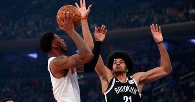 Knicks guard Elfrid Payton moves to the basket against Nets center Jarrett Allen on Jan. 26, 2019, at Madison Square Garden.