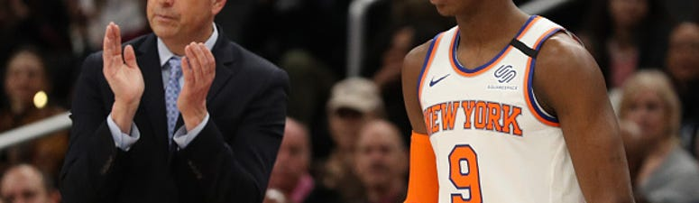 RJ Barrett enters a game off the Knicks bench.