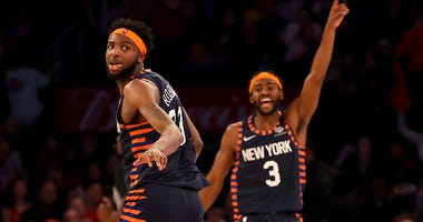 Knicks C Mitchell Robinson celebrates at the end of a game vs. the Bulls.