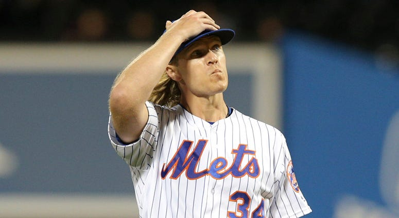 The Mets' Noah Syndergaard reacts in between pitches against the Miami Marlins on Sept. 24, 2019, at Citi Field.