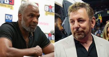 Former Knicks power forward Charles Oakley and Knicks owner James Dolan