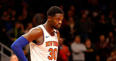 Julius Randle reacts during a Knicks game.
