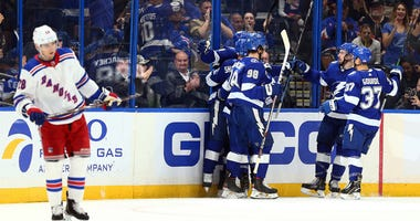 The Tampa Bay Lightning celebrate one of their nine goals against the Rangers on Nov. 14, 2019.