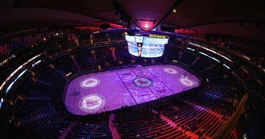 The ice before a Rangers game at Madison Square Garden