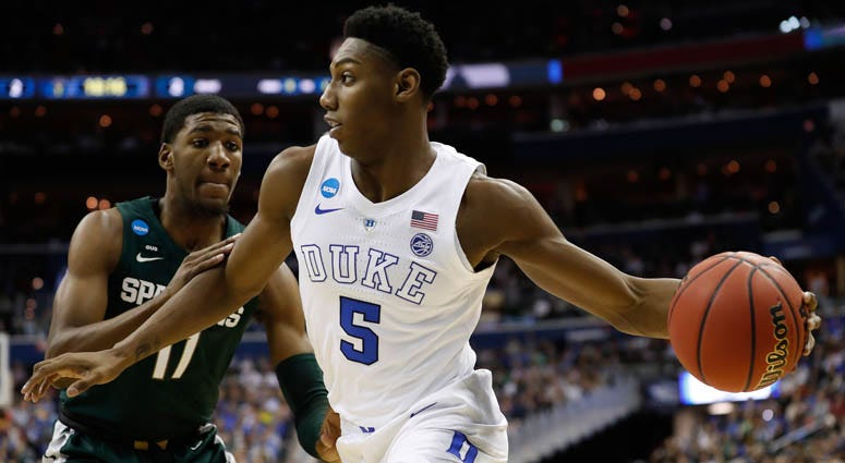 Duke forward RJ Barrett drives to the basket against Michigan State in the East regional final of the NCAA tournament on March 31, 2019, at Capital One Arena in Washington, D.C.