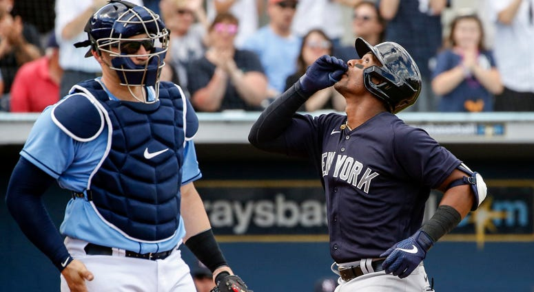 Yankees third baseman Miguel Andujar celebrates after hitting a home run against the Tampa Bay Rays on Feb. 23, 2020, at Charlotte Sports Park in Port Charlotte, Florida.