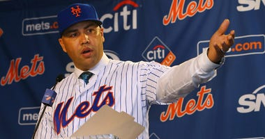 Carlos Beltran speaks after being introduced as manager of the New York Mets during a press conference at Citi Field on Nov. 4, 2019.