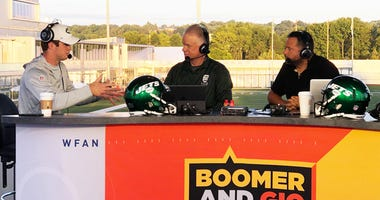 Boomer and Gio interview Jets quarterback Sam Darnold on Aug. 12, 2019, at Jets training camp in Florham Park, New Jersey.