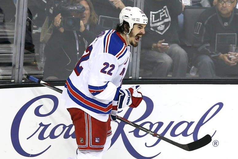 Brian Boyle of the Rangers celebrates his second period goal past goaltender Jonathan Quick #32 of the Los Angeles Kings during Game Five of the 2014 Stanley Cup Final at Staples Center on June 13, 2014 in Los Angeles, California.