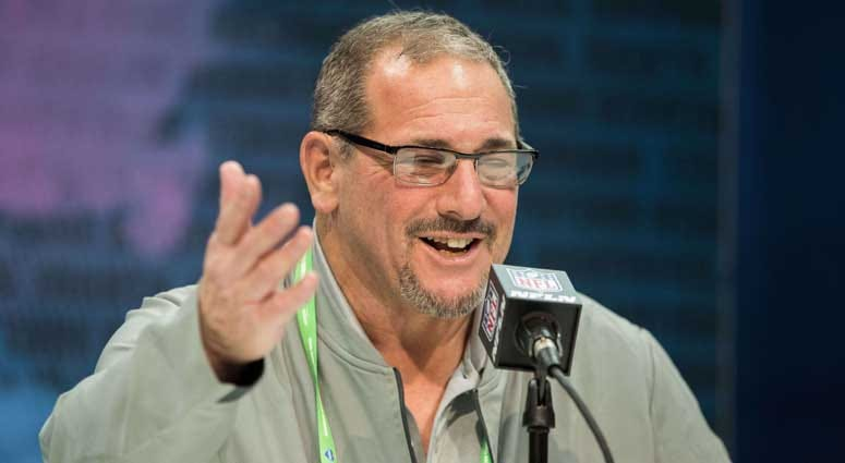 Giants general manager Dave Gettleman speaks to the media during the NFL combine at the Indianapolis Convention Center in Indianapolis.