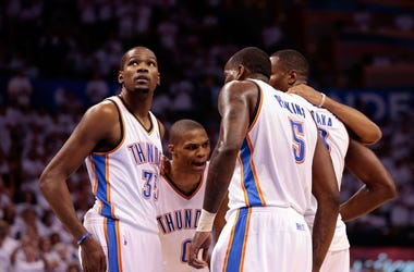 kevin Durant, Russell Westbrook and Kendrick Perkins