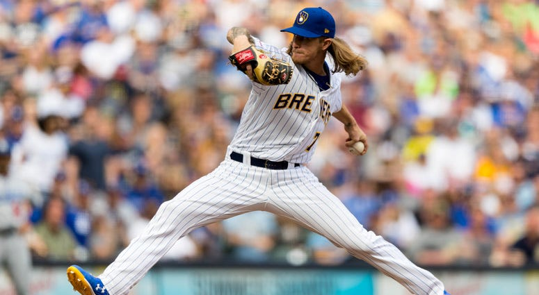 The Brewers' Josh Hader delivers a pitch against the Los Angeles Dodgers on April 21, 2019, at Miller Park in Milwaukee.