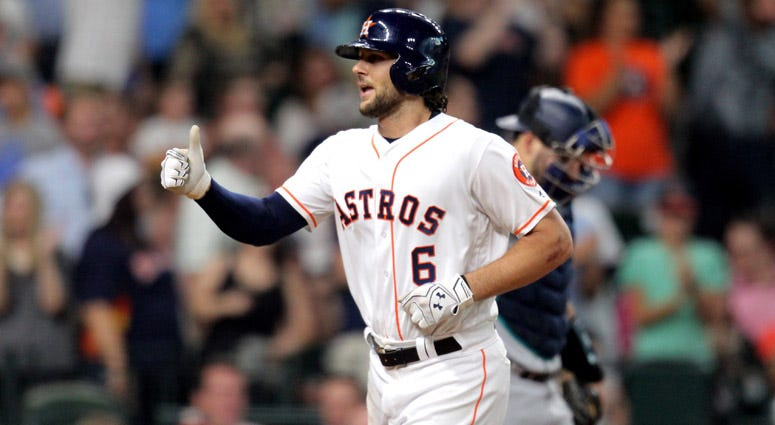 Astros center fielder Jake Marisnick celebrates while crossing home plate after hitting a home run against the Seattle Mariners on July 17, 2017, at Minute Maid Park.